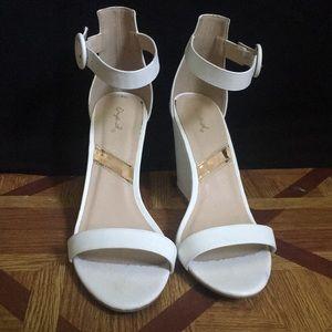 White wedge heels